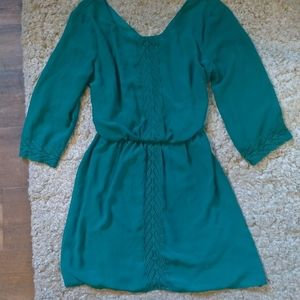 Teal/green knee-length dress